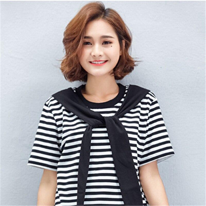 Summer Women Fashion Fake Two Pieces Dress Vestidos Ladies Hip Hop Dresses Female Sailor Collar Striped Frocks Plus Size AY051