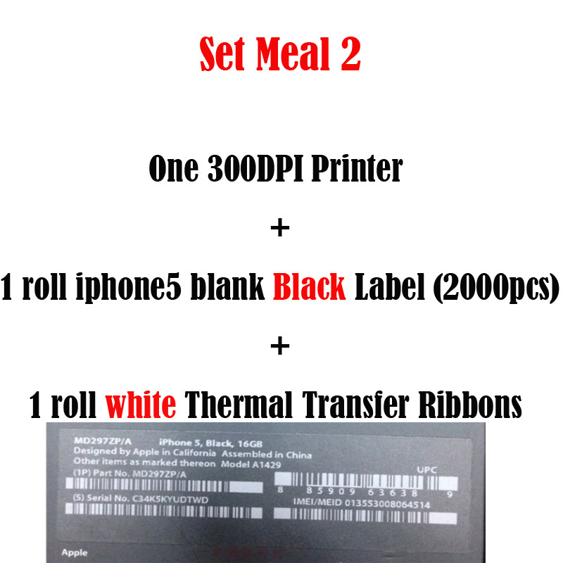 Ios cellphone imei label sticker printer printing solution with professional technical support for 5 black label white ribbon in barcode printer from