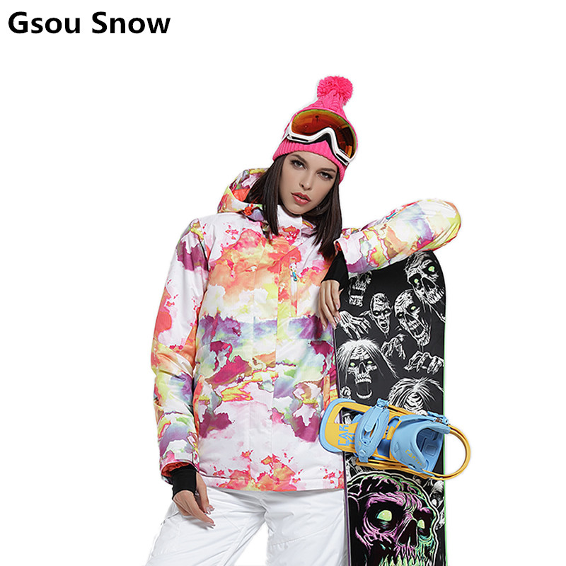 Gsou winter ski suits female waterproof ski jacket womens colorful snowboard jackets ski jas heren veste ski femme 2017 gsou ski jacket women snowboard winter snow jacket skiwear ski jas heren clothes esqui warm waterproof