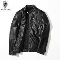 JUEKELONG Michael Jackson Skulls Leather Biker Jackets Men 2018 Coats Slim Motorcycle Bomber Jacket Mens Leather Jackets Coats