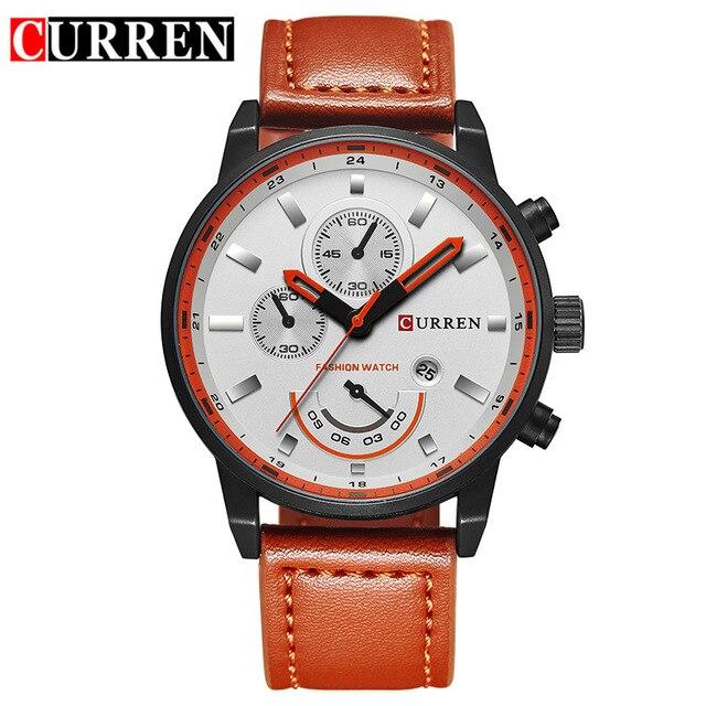 saati 2019 Hot Fashion Quartz Brand Luxury Leather True Three Eyes Waterproof Calendar Men Watch Wrist watches Relogio Masculino