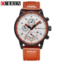 saati 2020 Hot Fashion Quartz Brand Luxury Leather True Three Eyes Waterproof Calendar Men