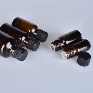 Image 5 - 6 pcs/lot 100 ml 50 m 30 ml 20 ml 15 ml 10 ml 5 ml 1/3 oz 1 oz bouteilles en verre dhuile essentielle ambre épaisse avec des récipients en verre à capuchon noir