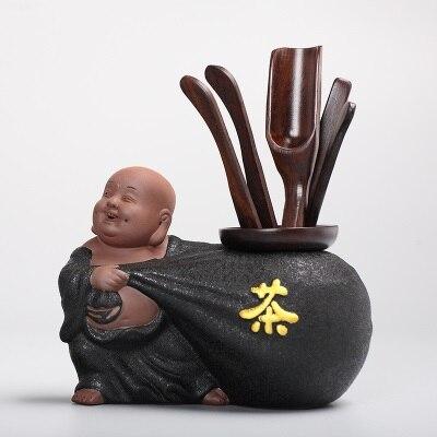 Thé cérémonie Six messieurs Kung Fu set de thé accessoires ensemble complet de bois d'aile de poulet ébène bois massif céramique zéro correspondance - 6