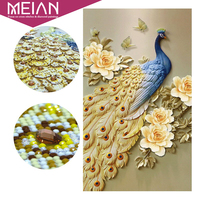 Meian Special Diamond Embroidery Full DIY Peony Gold Peacock Diamond Painting Cross Diamond Mosaic Bead Picture