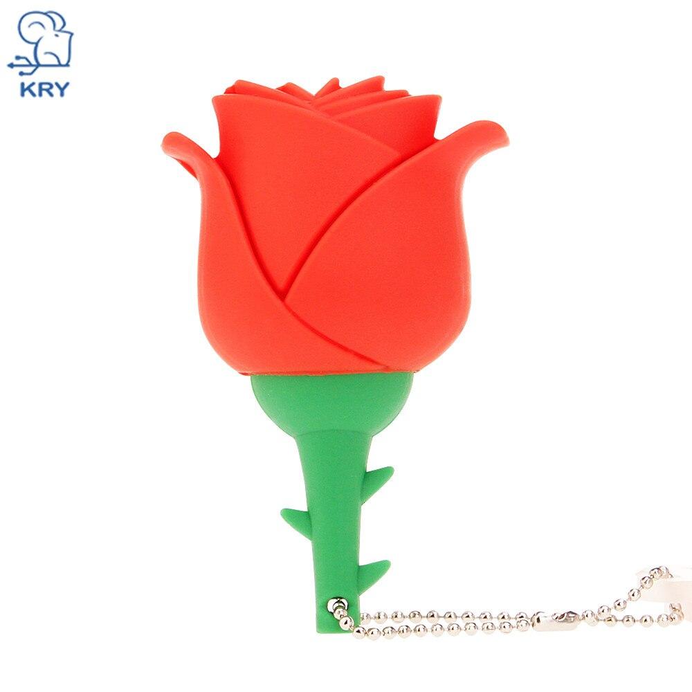 KRY 100% Real Capacity Mini Rose Flash Drive High Speed 2.0 4GB 8GB 16GB 32GB 64GB Cartoon Pendrive Memory Stick Storage Devices