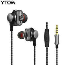 Cheapest HOT SALE Dual unit driver earphone earbuds monitor headset for phone mp3 wired jack bass in ear stereo 3.5mm earphone with mic