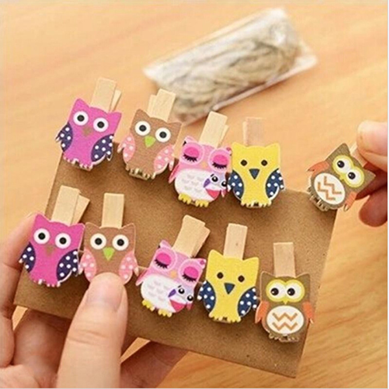 Kawaii Cartoon Owl Wooden Clip Photo paper Clothespin Craft Clips Party Decoration Clip For Christmas