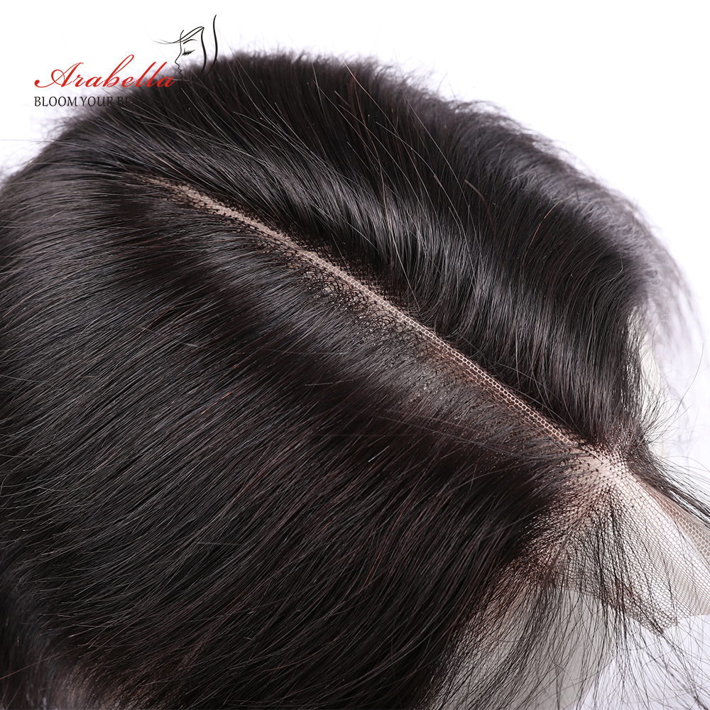 Arabella Lace Closure Hair Knots Middle-Part 2x6 Pre-Plucked Kim K Straight Bleached