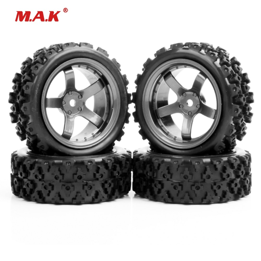 4pcs/set 4x Rubber Tires Wheel Rims Set 6mm Offset For 1/10 RC Rally Racing Off Road Car