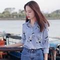 2017 Spring Autumn Women Runway Fashion Striped Long Sleeve Shirts Turn-Down Collar Single Breasted Cranes Printed Blouse JC213