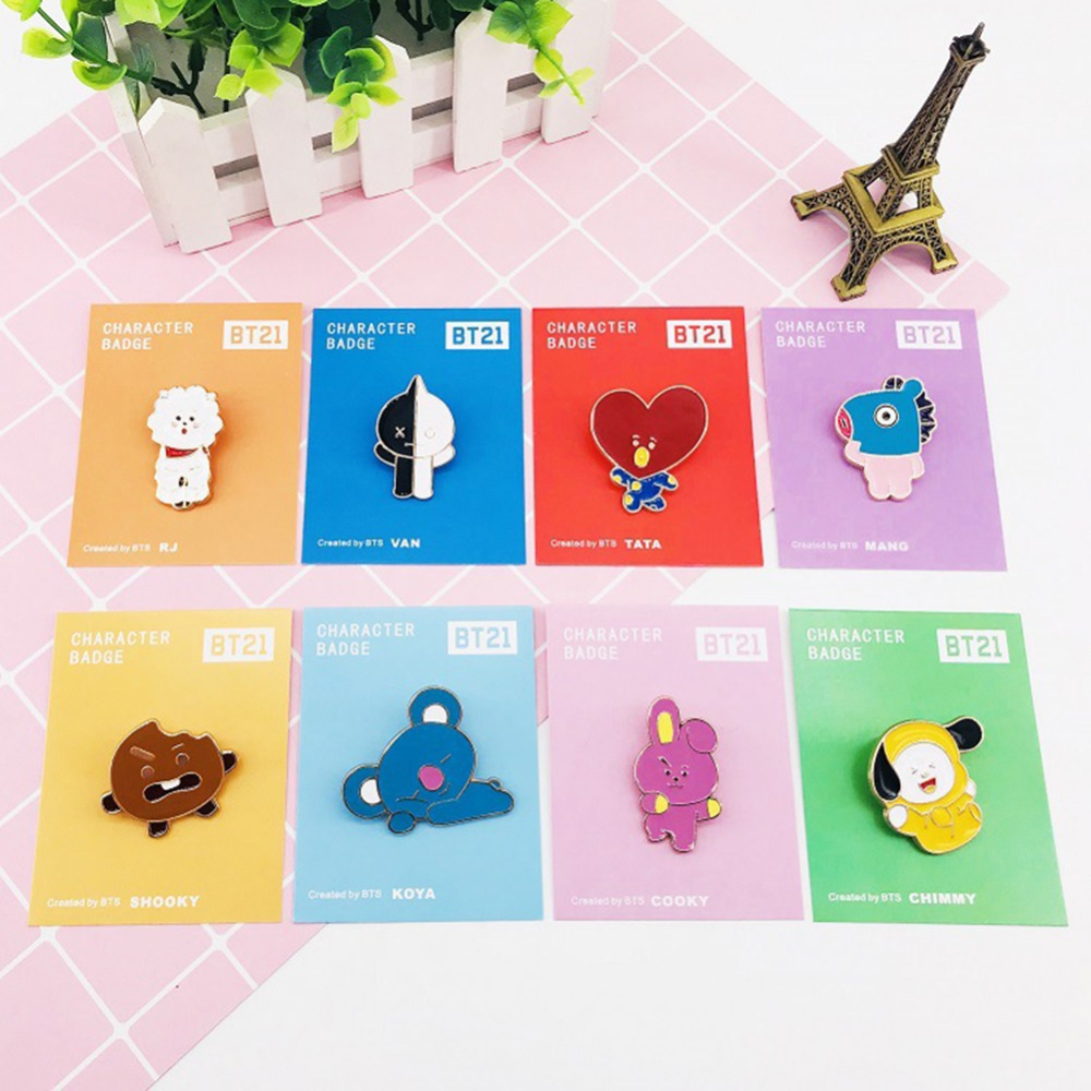 1 PC Lovely Cartoon KPOP Cute Cartoon BT21 Badge Metal Brooch Pins Decor Fan Favor Collection for Clothing Badges#291001-in Badges from Home ...
