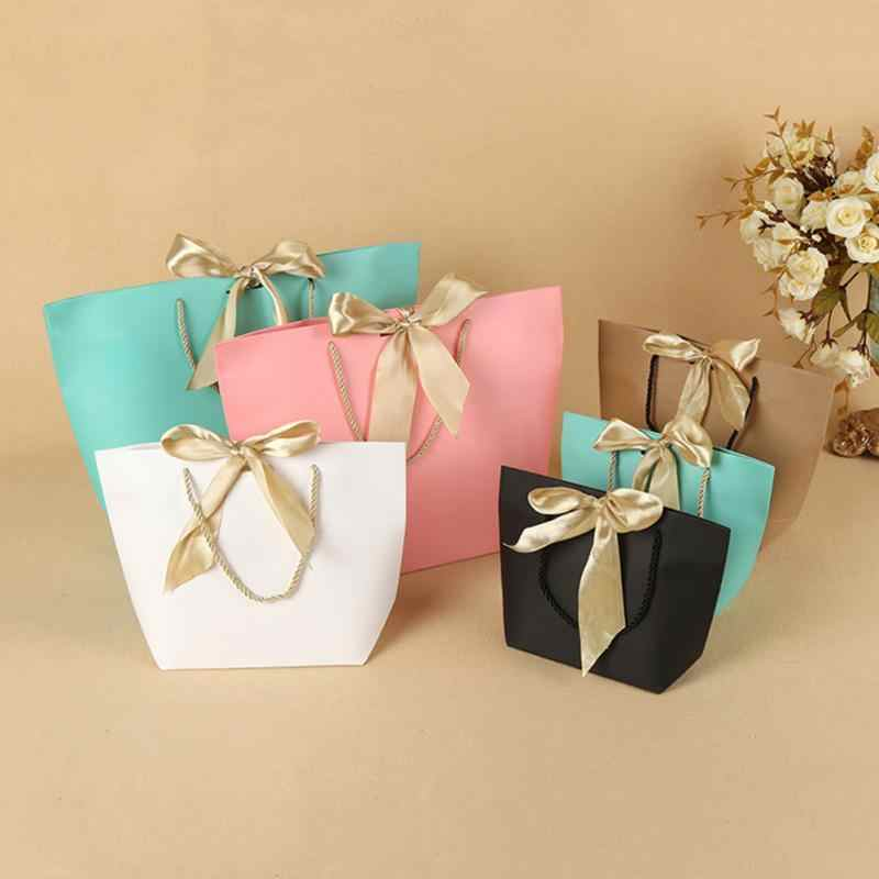 5pcs/pack Present Paper Wedding Gift Bag Decorations Recyclable Pouch Party Favor DIY With Handles Birthday Bow Ribbon