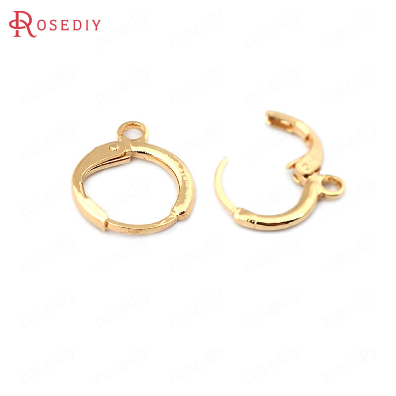 (33758)20PCS 14*12MM 24K Gold Color Brass Round Loop Earrings Hoops High Quality Diy Jewelry Findings Accessories