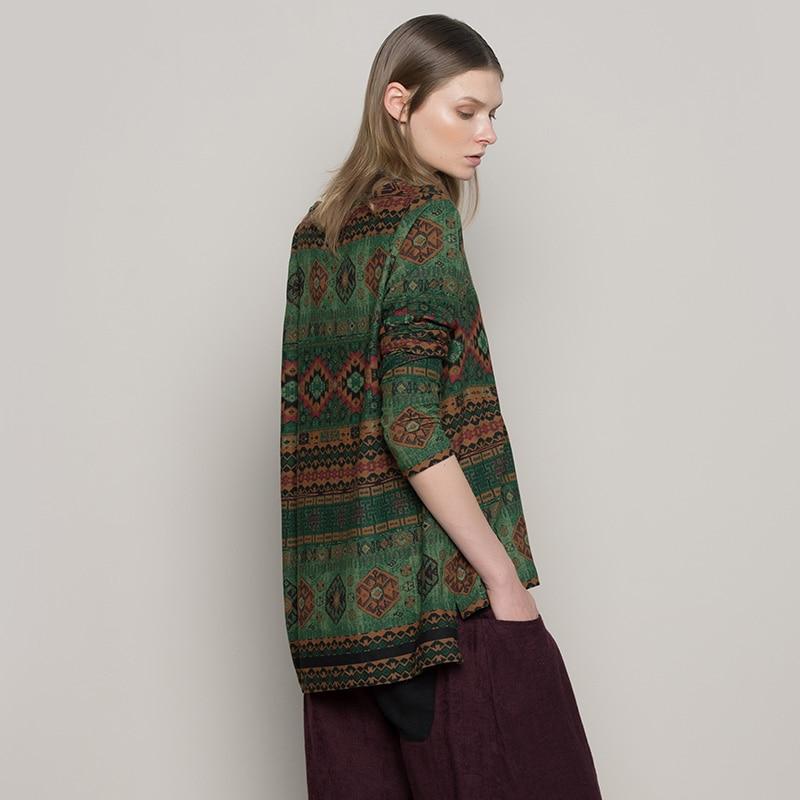Jiqiuguer Women Geometric Print Blouses shirts Vintage Plus Size O-neck Asymmetric Loose Casual Autumn Pullover Tops G173Y023
