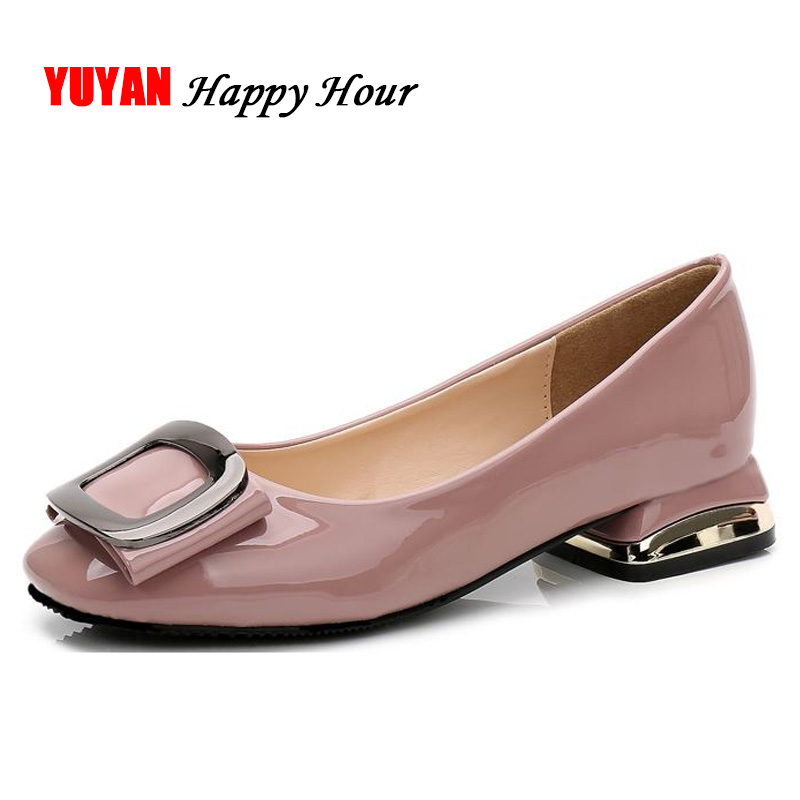 New Fashion Low Heels Women Heeled Shoes Metal Design Elegant Women's Pumps Office Ladies Brand Shoes Thick Heel 2.5cm ZH2410 garda decor набор бокалов для молодоженов page 3