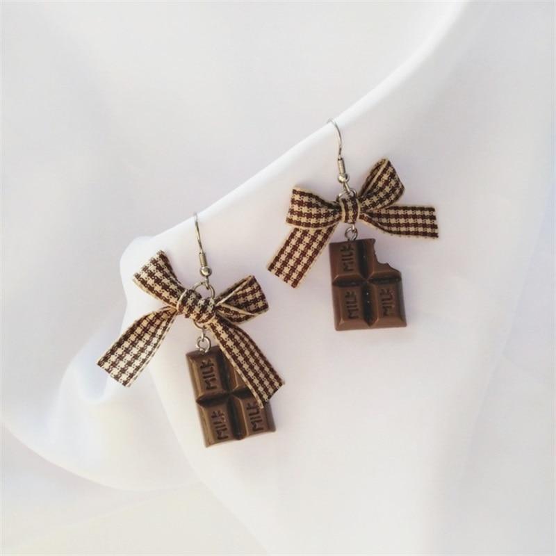 2019 Korean Fashion geometric bowknot cloth dangle earrings funny cute chocolate resin long earrings women jewelry ear clip gift
