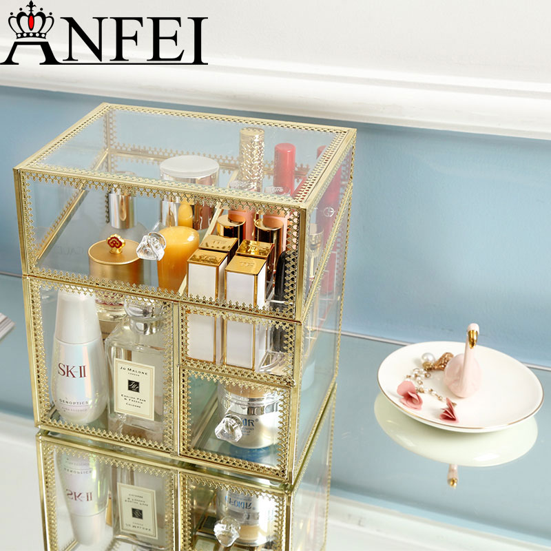 ANFEI New Style Drawer Style Multer-layer Glass Clear Makeup Cosmetic Storage Display Box Case Stand Rack DrawerStorageBox B2262ANFEI New Style Drawer Style Multer-layer Glass Clear Makeup Cosmetic Storage Display Box Case Stand Rack DrawerStorageBox B2262