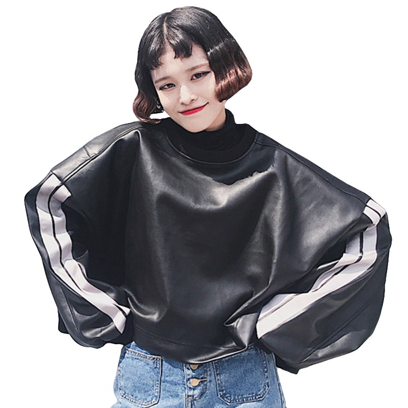 New Spring Long Sleeve O-neck T-shirts Women Fashion Leather Tee Shirt Female Pullover Outwear Casual Loose PU Tshirt Women