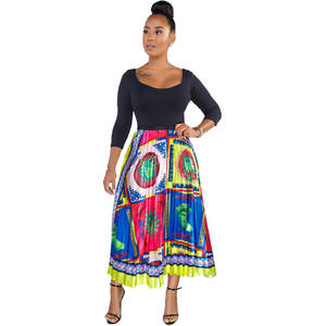 Styled Printed Skirts with Pleated Satin Casual Summer