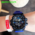 Male Sport Military Wristwatches 2016 New SANDA Watches Men Luxury Brand 3ATM 30m Dive LED Digital Analog Quartz Watches OP001