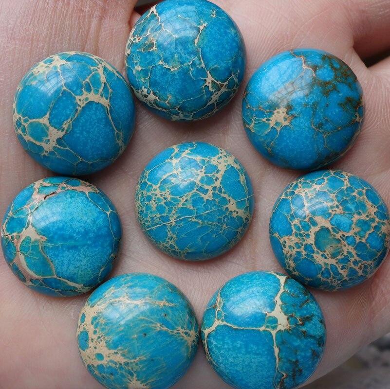 10Pcs/lot 20x8mm Free Shipping Round Sea Sediment Stone CAB Cabochon Beads Man Woman Jewelry