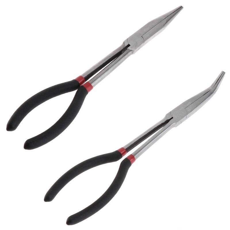 Pince de pêche courbe droite longue poignée en acier au carbone pince multifonctionnelle