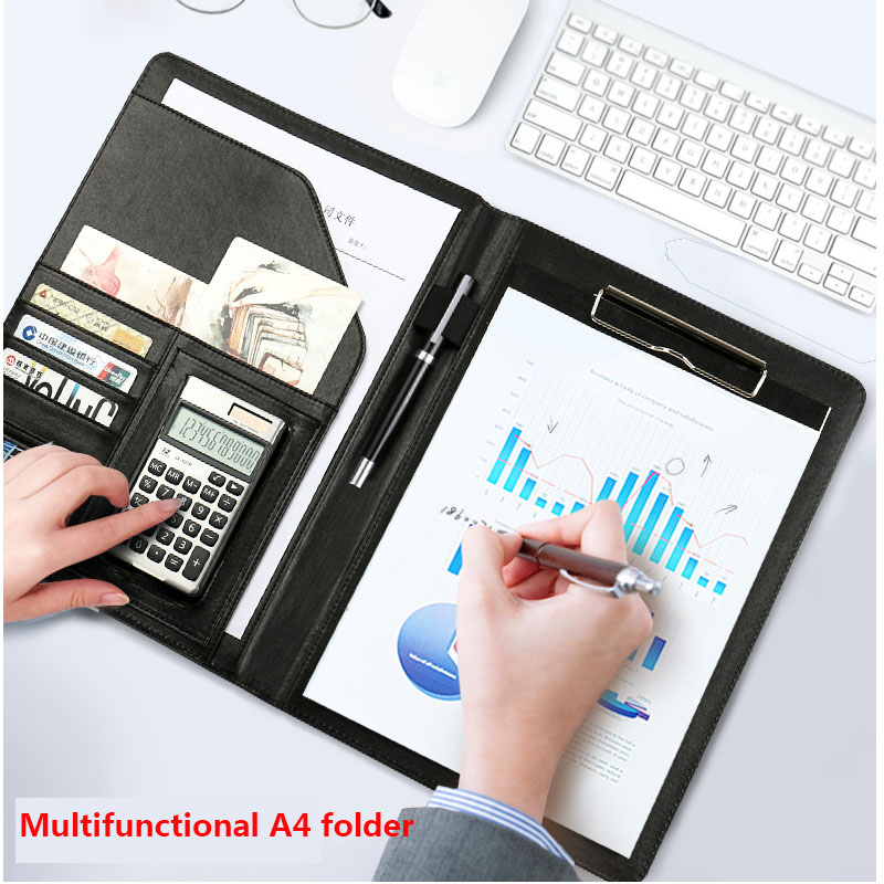 A4 PU Leather File Folder With Calculator Multifunction Office Supplies Organizer Manager Writing Pads Legal Paper Contract clipboard folder portfolio multi function leather organizer study office manager clip writing pads legal paper contract