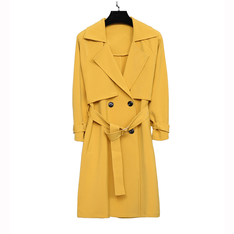 2019 New Spring Trench Coat Women Basic Coat Korean Fashion Medium Long Outerwear Plus Size Black Yellow Windbreaker Female A829