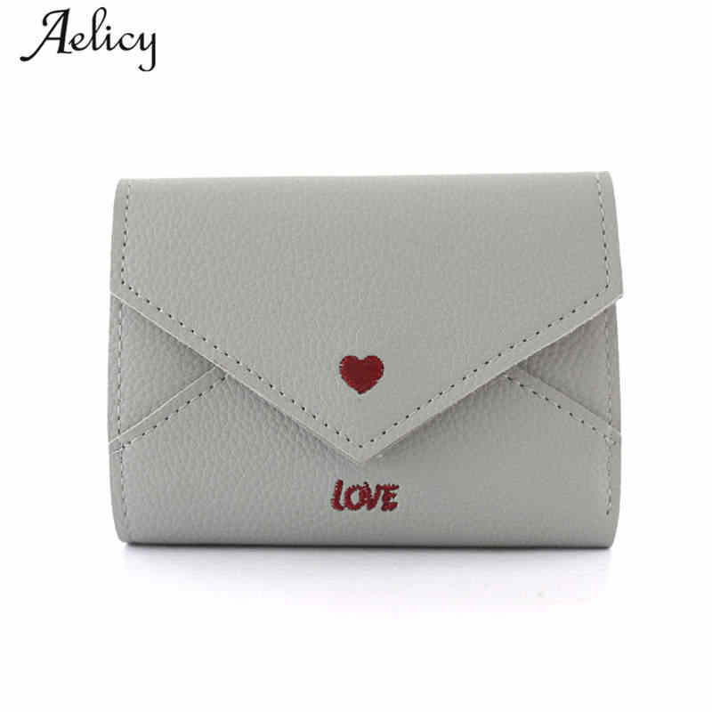 Aelicy Women Simple Love Short Leather Wallet Bag For Teenager Girl Simple Solid Small Purse Card Holder Fashion Female Purses