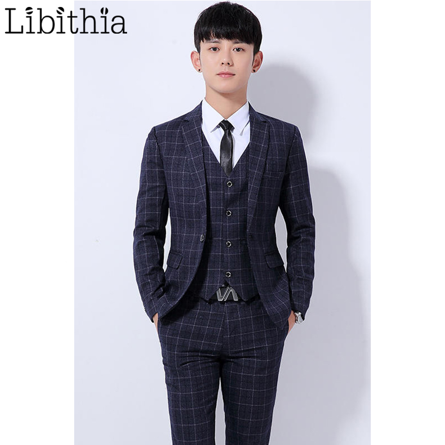 Aliexpress.com : Buy (Jakcet Pant) Men's Wedding Dress Suit Plaid ...