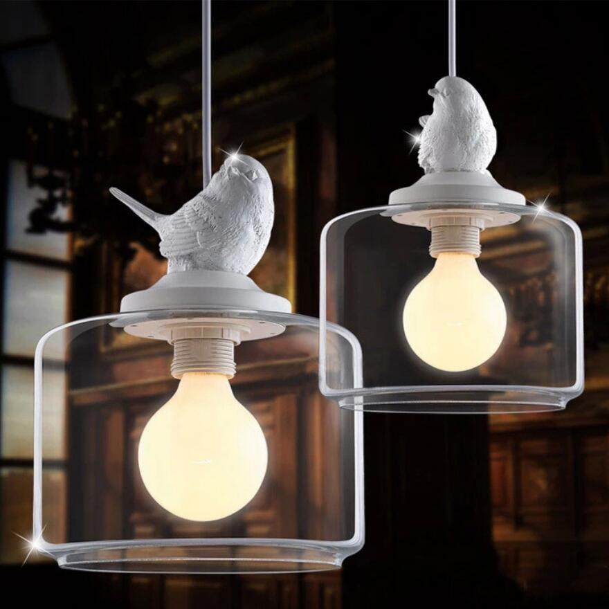European creative Bird chandelier LED lamps living room led chandelier E27 led light retro art glass