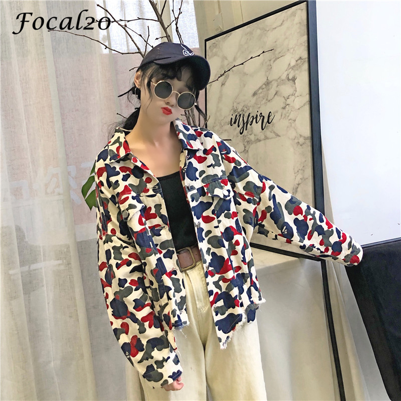 Focal20 Streetwear Camouflage Tassels Ripped Women Jacket Jeans Pockets Turn Down Collar Button Denim Jacket Coat Outwear 8