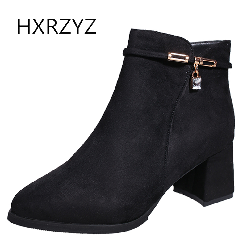 HXRZYZ womens winter suede warm boots black ankle boots spring/autumn new fashion side zipper thick high heels flock shoes women egonery quality pointed toe ankle thick high heels womens boots spring autumn suede nubuck zipper ladies shoes plus size