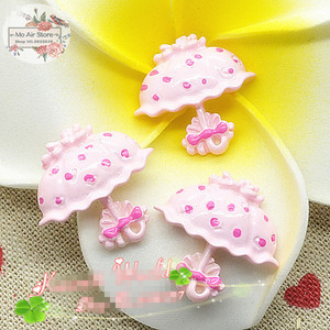 pink umbrella 10PCS 24mm Resin Flatback Cabochon Miniature craft Art Supply Decoration Charm Craft(China)