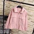 Casual Turtleneck Women Jackets Plus Size 3XL Loose Pockets Hooded Short Jacket KK1992