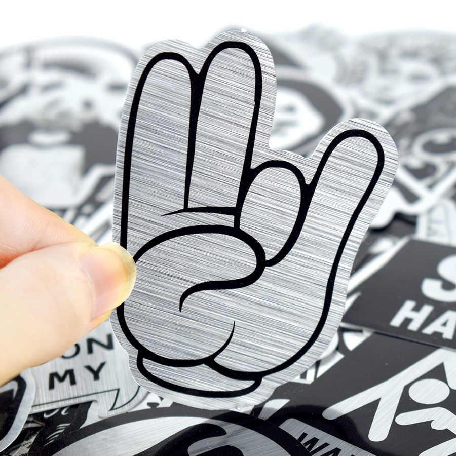 50 قطعة لامع أبيض وأسود ملصقا فاسق مضحك ملصق رائع DIY بها بنفسك لأجهزة الكمبيوتر المحمول دراجة نارية دراجة الغيتار حقيبة سكيت سيارة