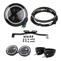 7 Inch LED Headlight 7 bracket drl 4.5 inch fog lights with housing bucket with bracket Motorcycles For Harley Davidsion(Black)