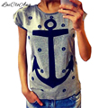 Female Cotton T-shirts Tees Summer Casual Loose Plus Size O-Neck Short Sleeve Fashion Letter Anchor Print T Shirt Women Tops