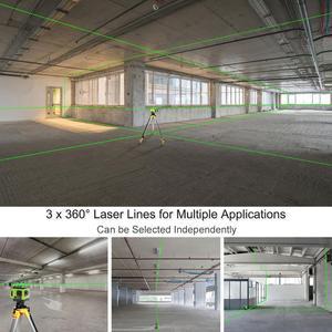 Image 3 - Huepar Electronic Self Leveling 3D Green Beam Laser Level 3x360 Cross Line Three Plane Leveling Alignment  Dual Slope Function