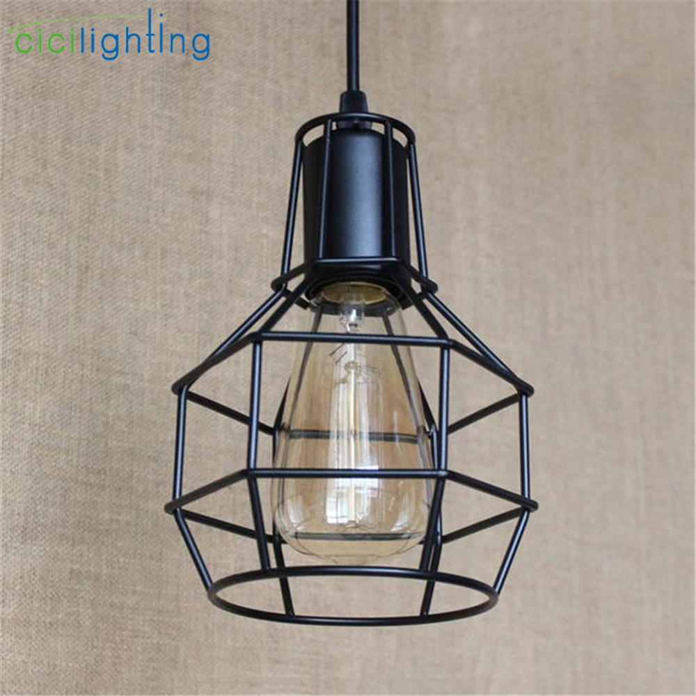 Industrial warehouse cage pendant lights american country lamps industrial warehouse cage pendant lights american country lamps vintage lighting for restaurantbedroom home decoration black in pendant lights from lights aloadofball Images