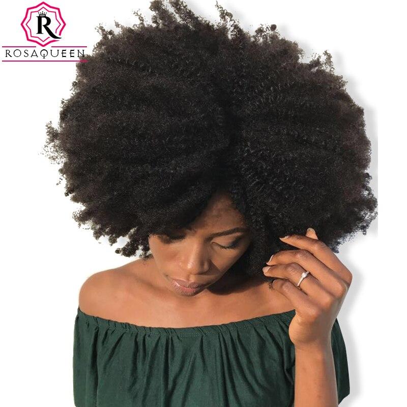 4B 4C Afro Kinky Curly Grampo Em Extensões Do Cabelo Humano Brasileiro Remy Do Cabelo Humano de 100% Cabelo Natural Clipe Ins Pacote Rosa Rainha
