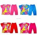 Retail In stock! Children Cartoon clothing sets Girls princess print kid summer suit LittleSpring GLZ-T0302