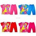 Varejo Em estoque! crianças conjuntos de roupas Meninas princesa Dos Desenhos Animados impressão criança terno de verão LittleSpring GLZ-T0302