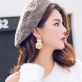 Новые корейские женские модные массивные металлические серьги для женщин ювелирные изделия золотого и серебряного цвета простые Винтажны...