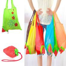 Hot Creative environmental storage bag Handbag Strawberry Foldable Shopping Bags Reusable Folding Grocery Nylon eco tote Bag(China)