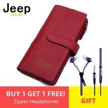 Купить с кэшбэком JEEP BULUO Brand Women Wallets Genuine Leather Zipper Coin Purse Fashion Long Red Wallet Large Capacity Clutch Bag Lady Rfid
