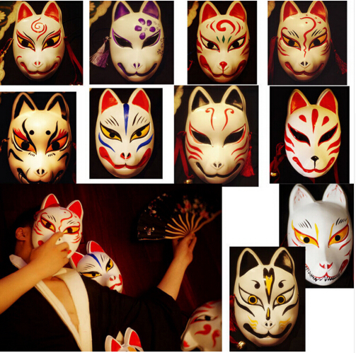 HOT Cosplay Mask Full Face Hand Painted JAPAN Fox PVC Red Kitsune