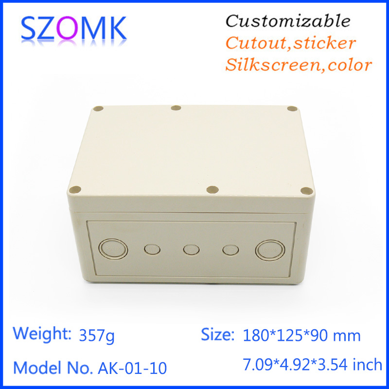 4 pcs, 180*125*90mm waterproof plastic project box electronic case szomk abs plastic enclosure for pcb design junction box 1pc 85 85 50mm waterproof electronic outdoor enclosure project pcb diy junction box abs plastic case electrical connector
