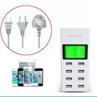 8 Puertos USB de Pared Cargador de Viaje Con Pantalla LCD USB Estación de Carga Para iPhone X 8 7 6 s Plus Galaxy Note 8 S7 S6 Edge Plus